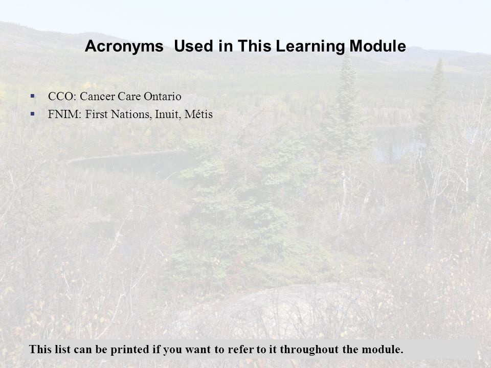 Acronyms Used in This Learning Module