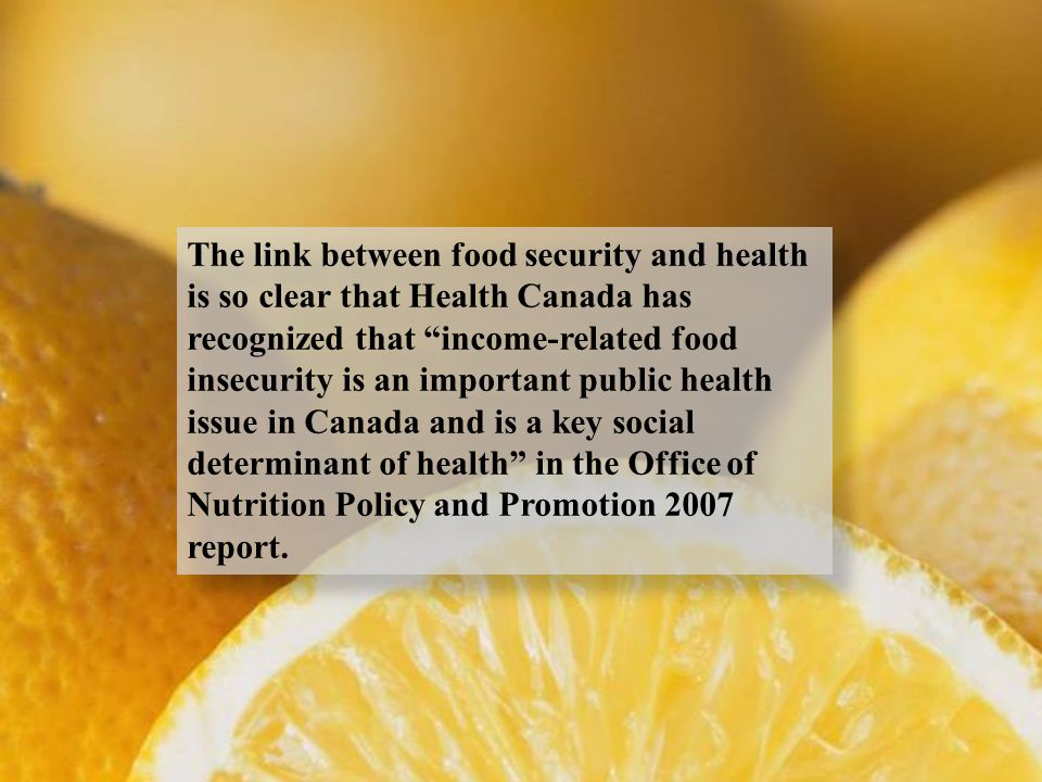 The link between food security and health is so clear that Health Canada has recognized that income-related food insecurity is an important public health issue in Canada and is a key social determinant of health in the Office of Nutrition Policy and Promotion 2007 report.