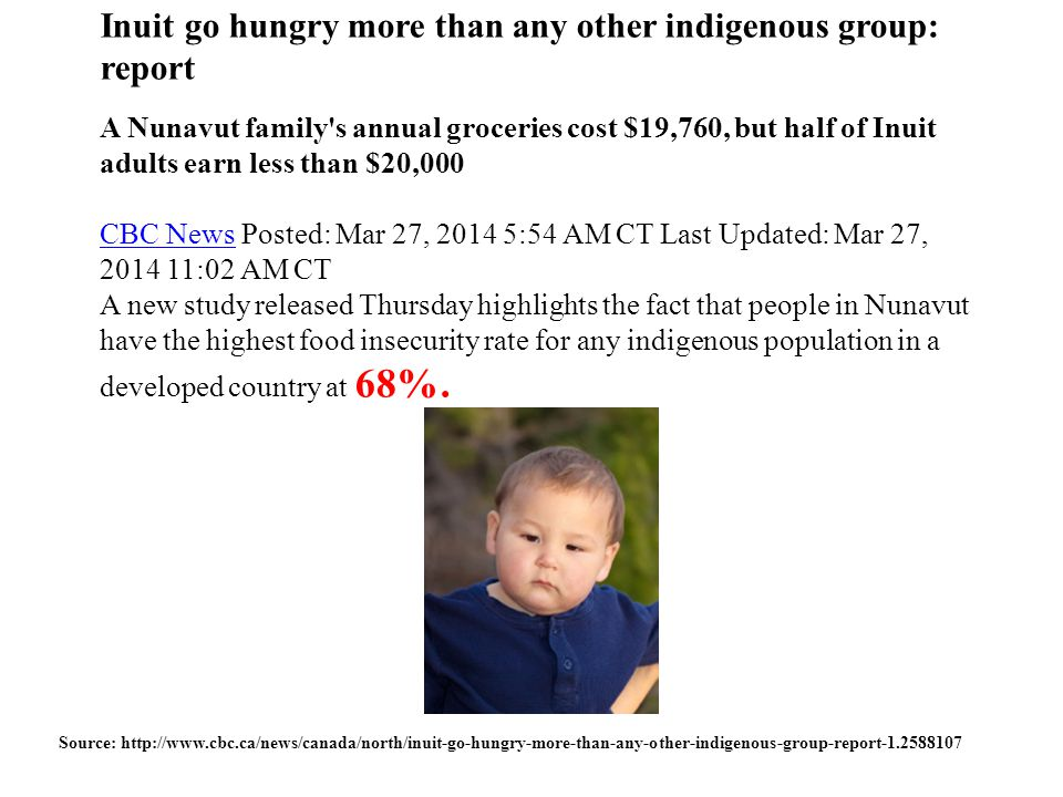 Inuit go hungry more than any other indigenous group: report