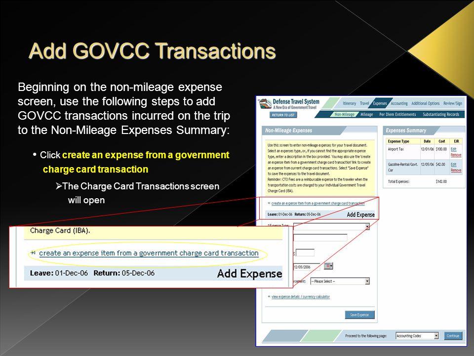 Add GOVCC Transactions