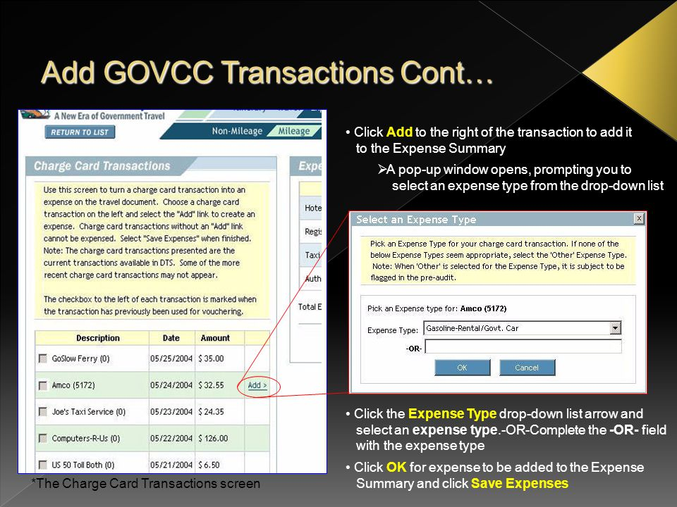 Add GOVCC Transactions Cont…