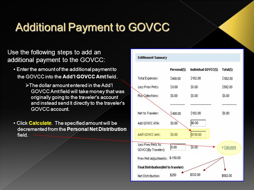 Additional Payment to GOVCC