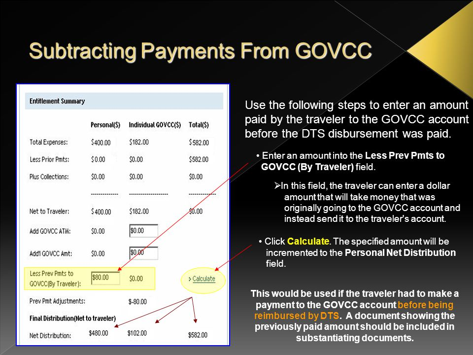 Subtracting Payments From GOVCC