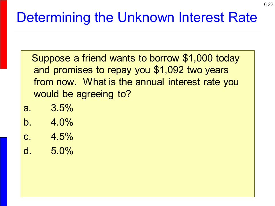 Determining the Unknown Interest Rate