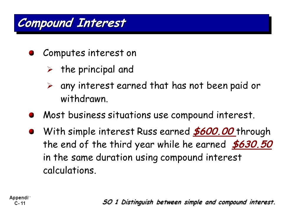 Compound Interest Computes interest on the principal and
