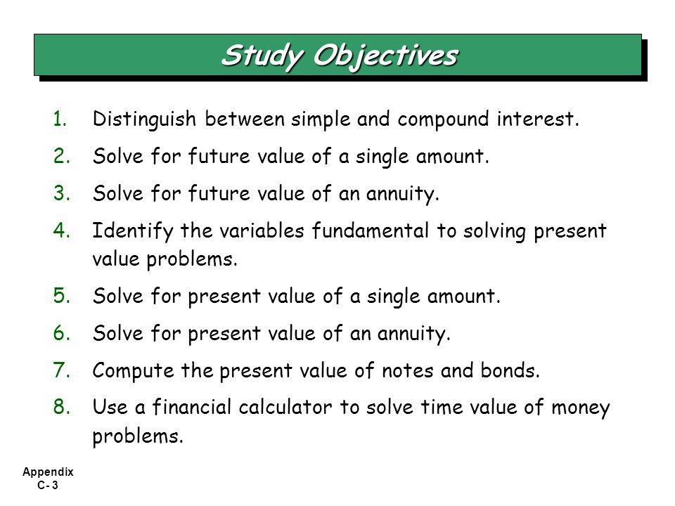 Study Objectives Distinguish between simple and compound interest.