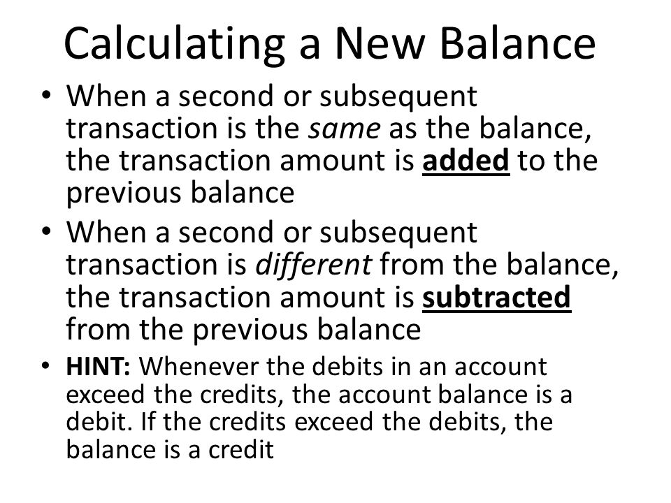 Calculating a New Balance
