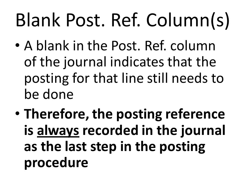Blank Post. Ref. Column(s)