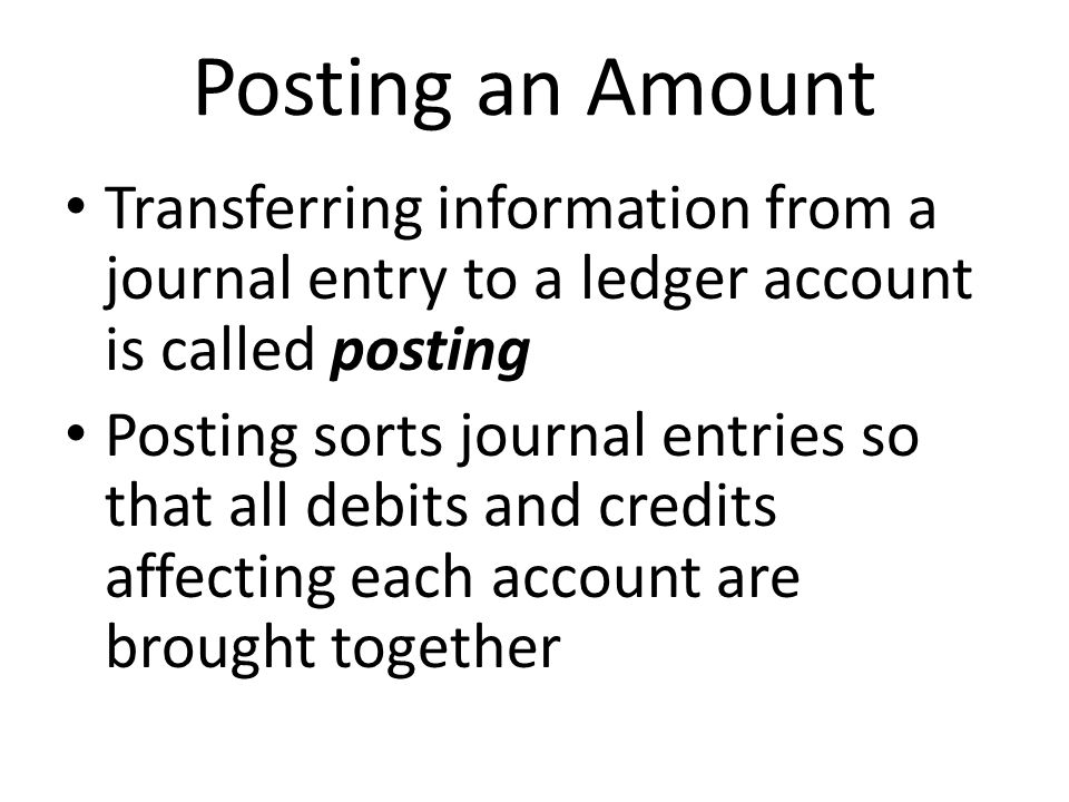 Posting an Amount Transferring information from a journal entry to a ledger account is called posting.