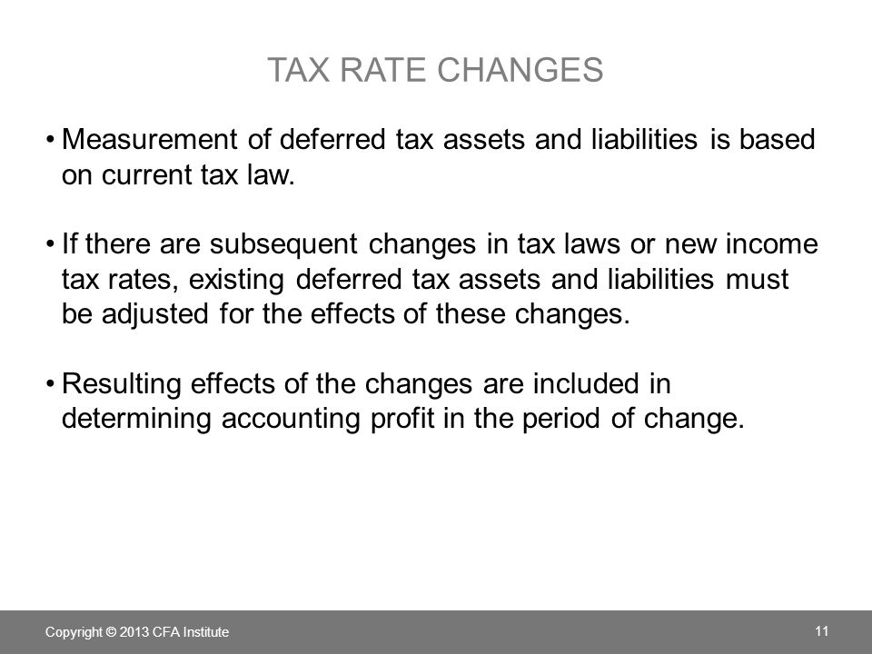 tax rate changes Measurement of deferred tax assets and liabilities is based on current tax law.