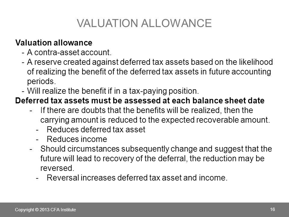 Valuation allowance Valuation allowance A contra-asset account.