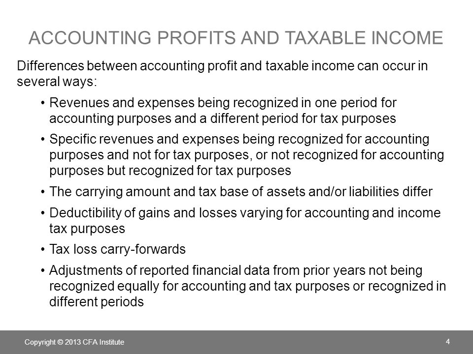 accounting profits and taxable income