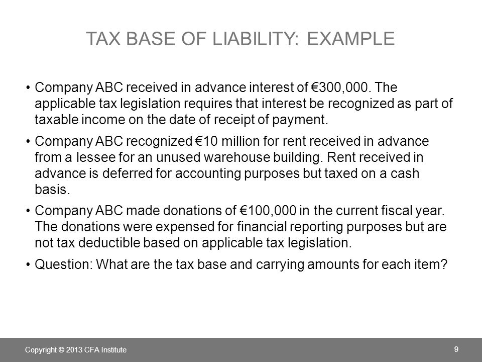 Tax base of liability: example