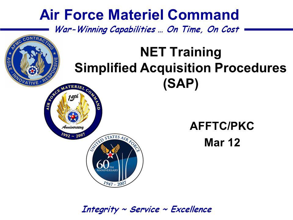 NET Training Simplified Acquisition Procedures (SAP)