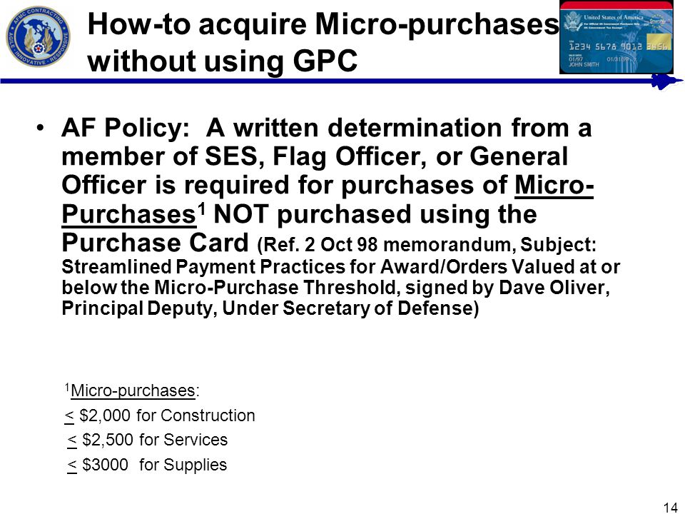 How-to acquire Micro-purchases without using GPC