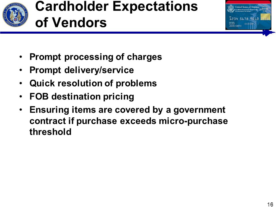 Cardholder Expectations of Vendors