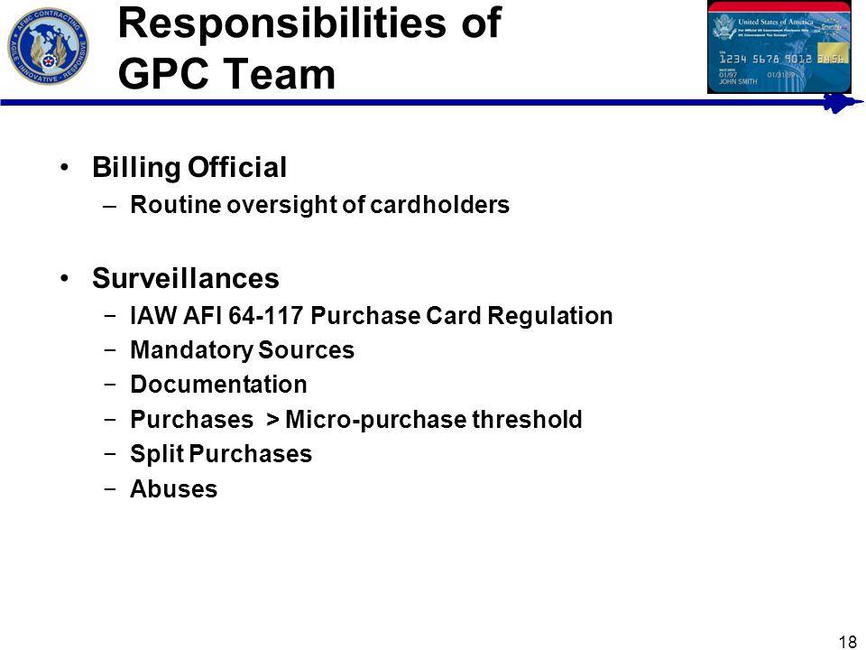 Responsibilities of GPC Team