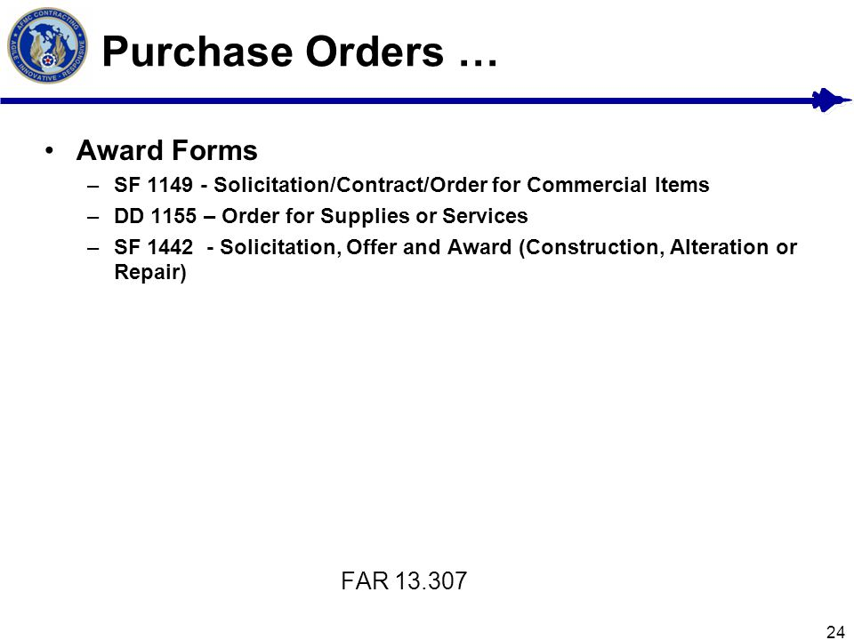Purchase Orders … Award Forms