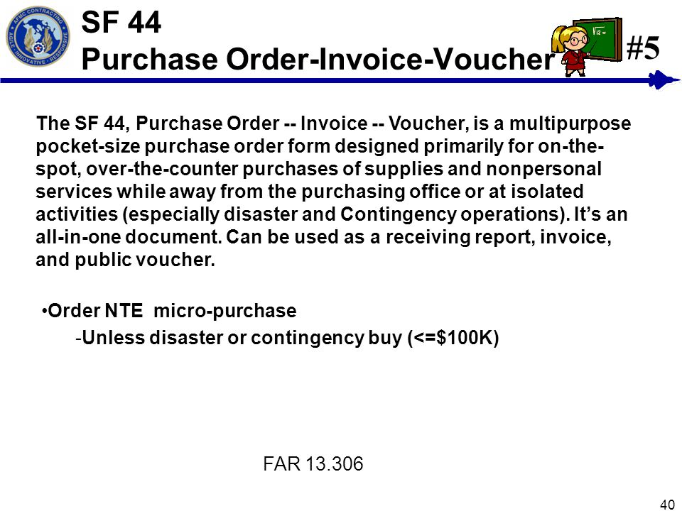SF 44 Purchase Order-Invoice-Voucher