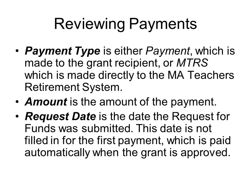 Reviewing Payments