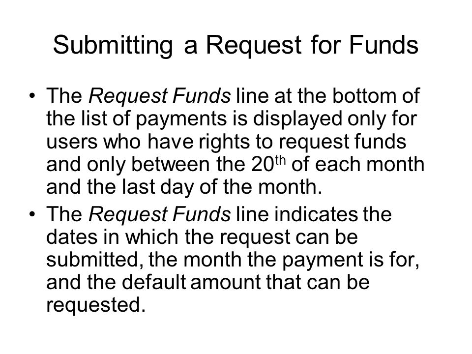 Submitting a Request for Funds