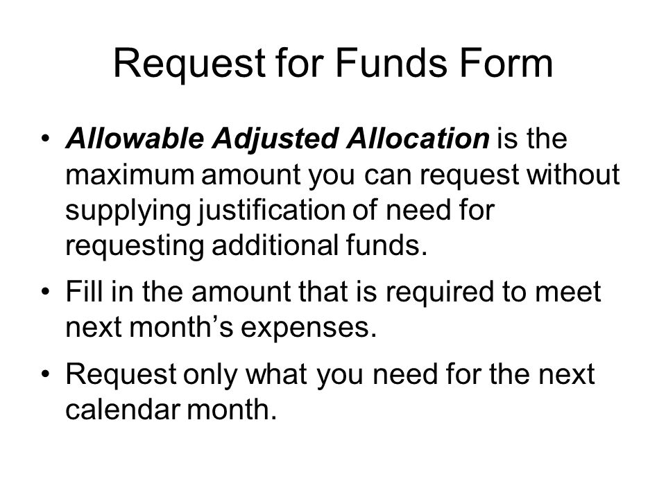 Request for Funds Form