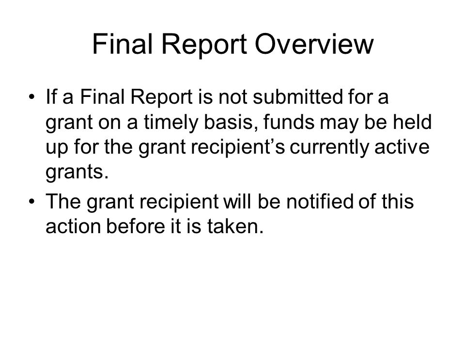 Final Report Overview