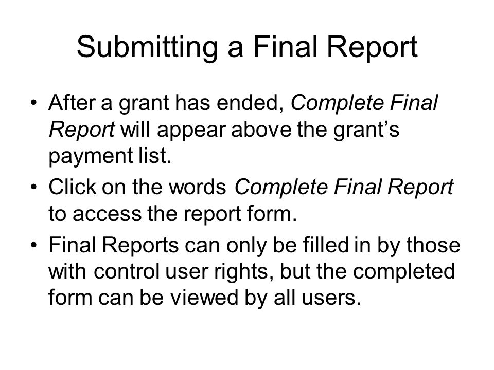 Grant Report Form Background On The Federal Financial Report Sf