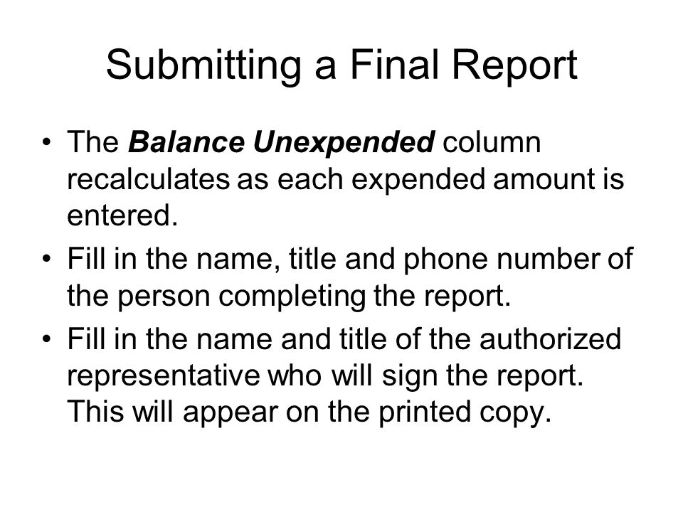 Submitting a Final Report