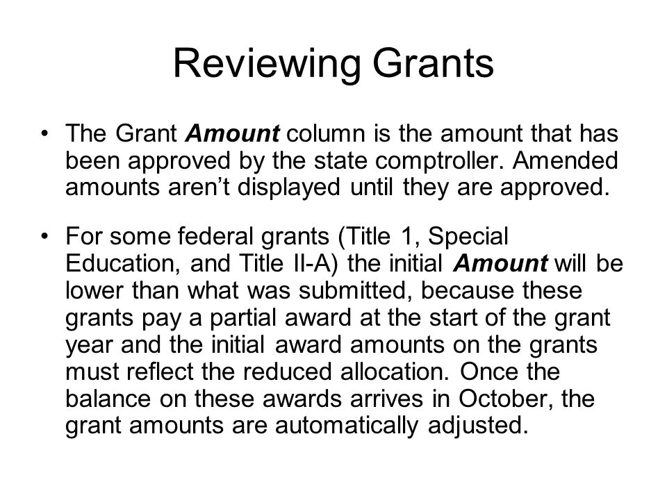 Reviewing Grants