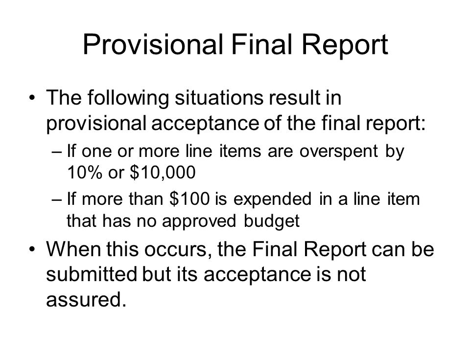 Provisional Final Report