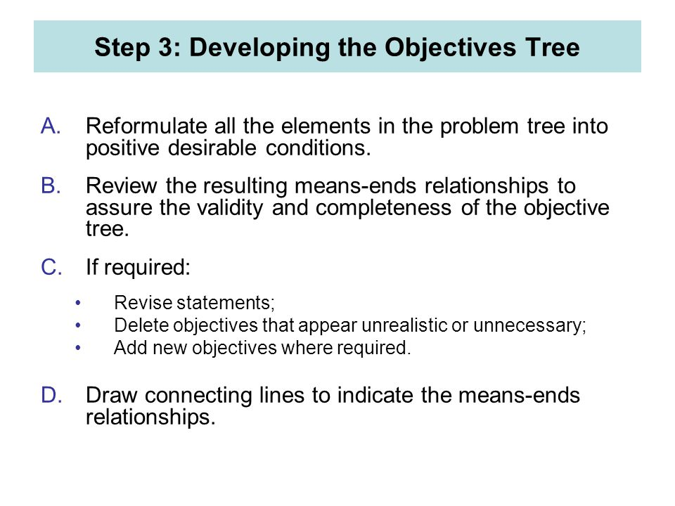 Step 3: Developing the Objectives Tree