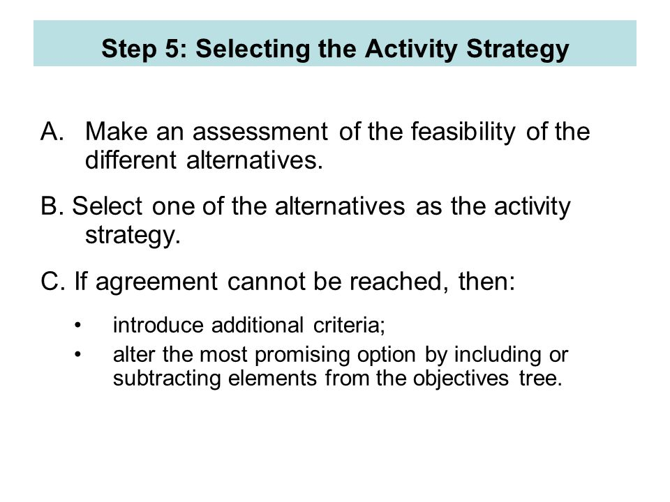 Step 5: Selecting the Activity Strategy