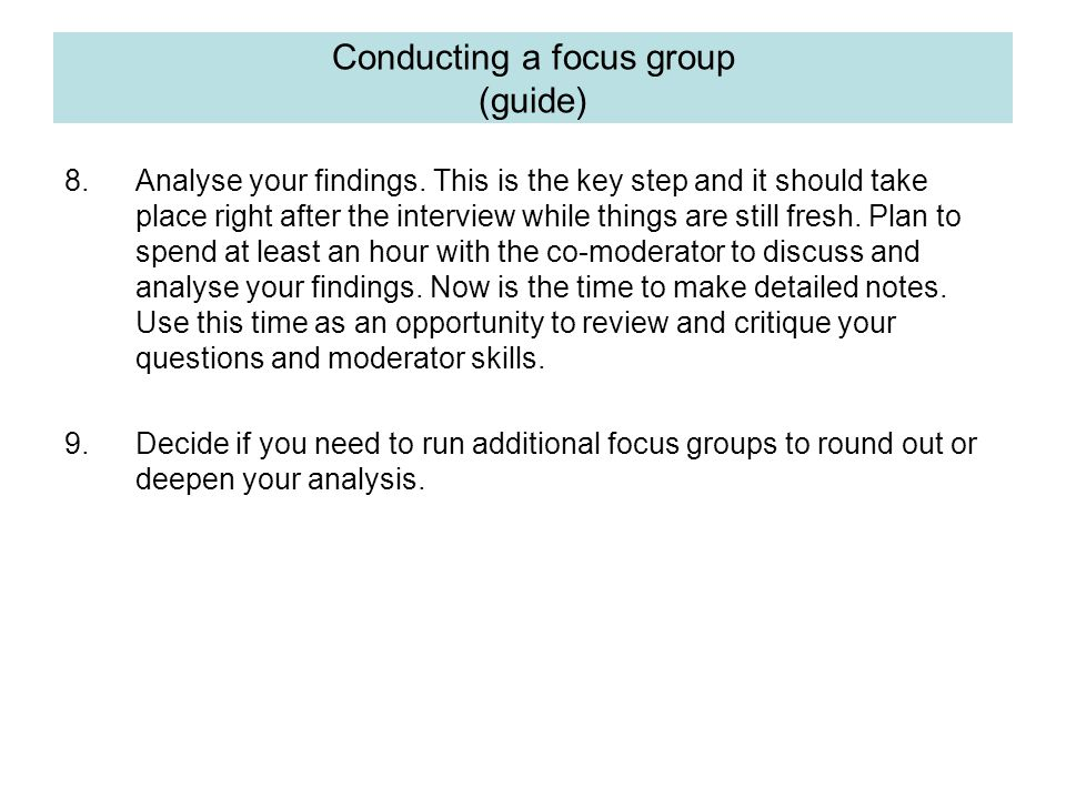 Conducting a focus group (guide)