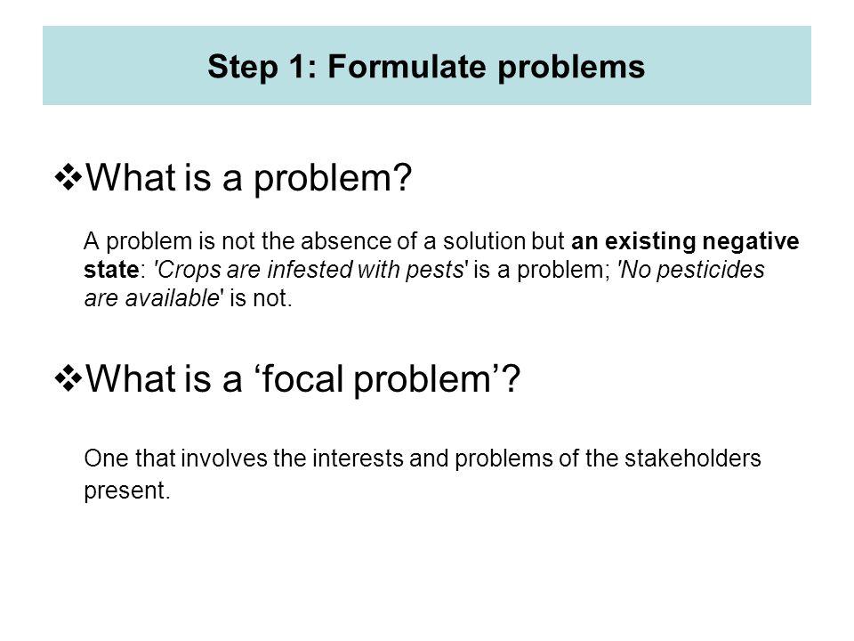 Step 1: Formulate problems
