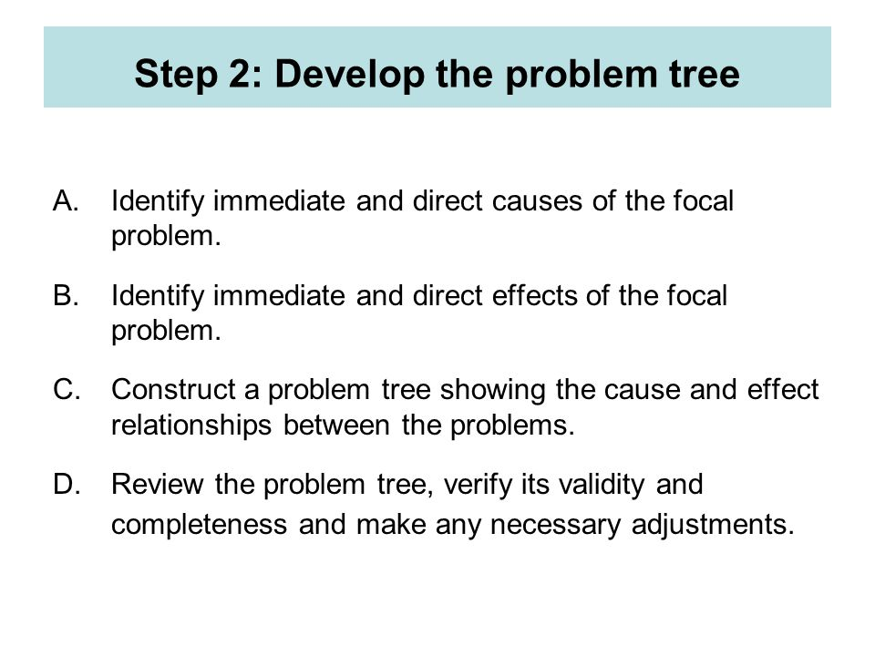 Step 2: Develop the problem tree