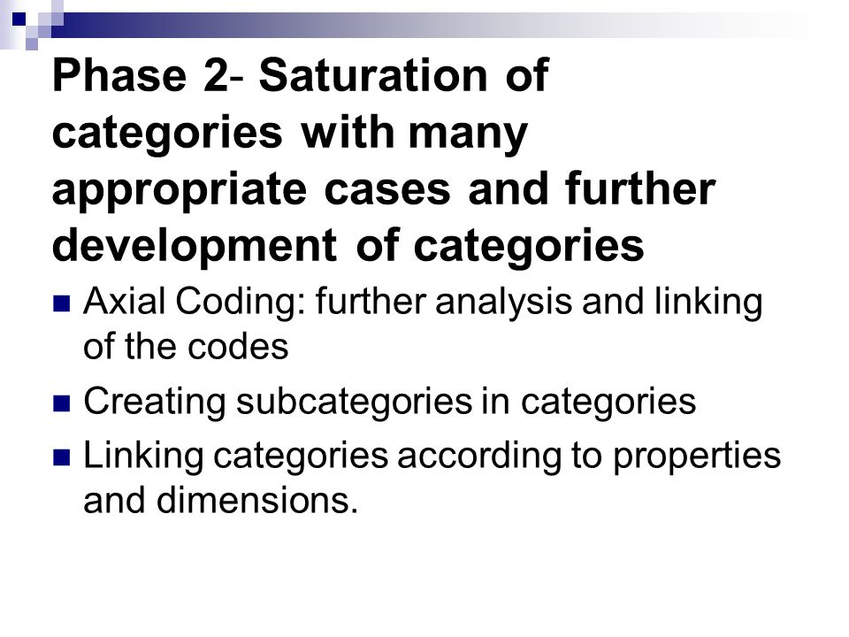 Phase 2- Saturation of categories with many appropriate cases and further development of categories