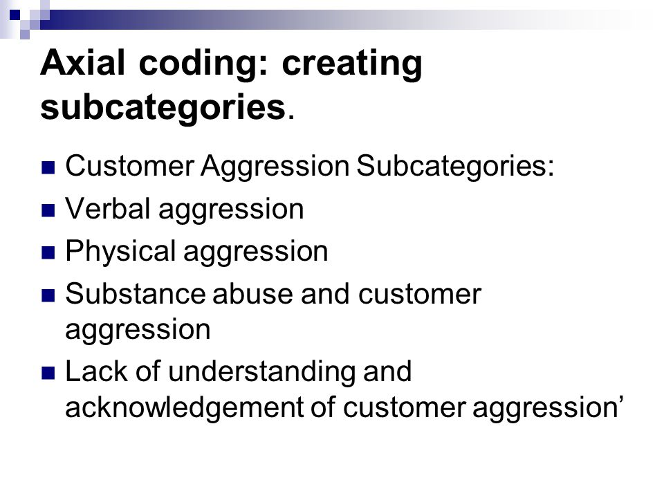 Axial coding: creating subcategories.