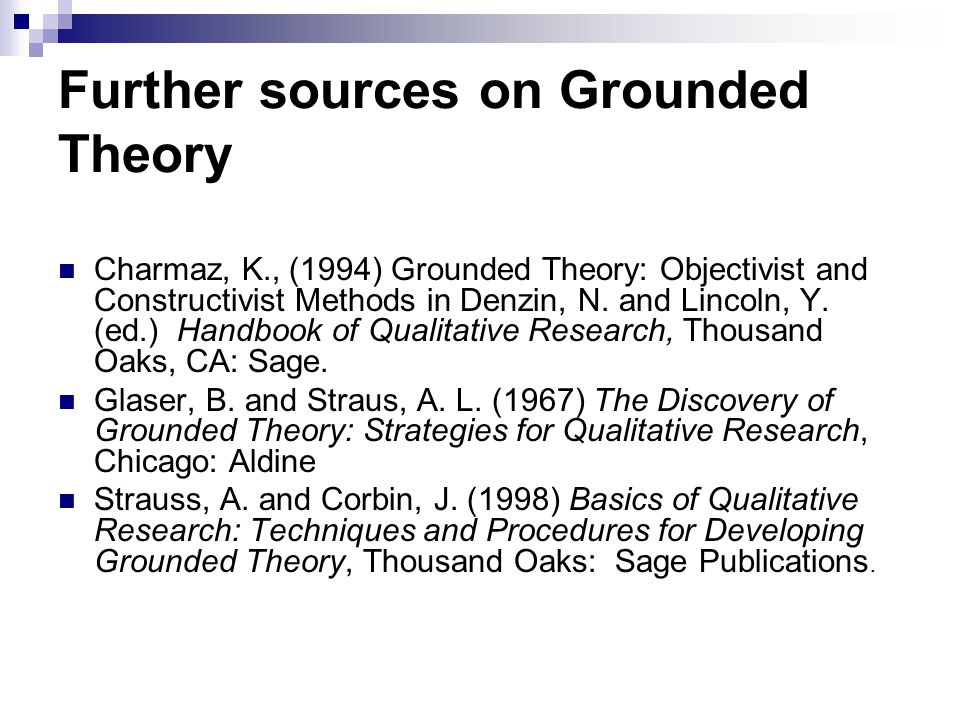 Further sources on Grounded Theory