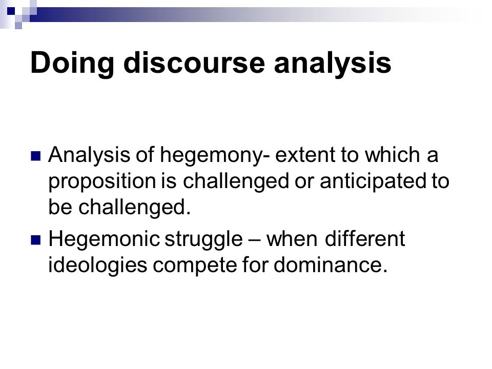 Doing discourse analysis