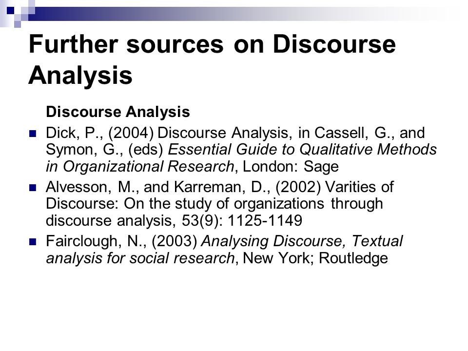 Further sources on Discourse Analysis