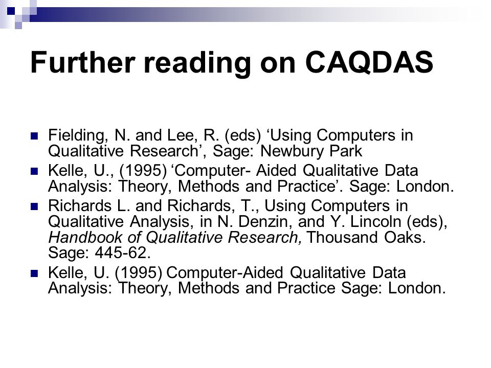 Further reading on CAQDAS