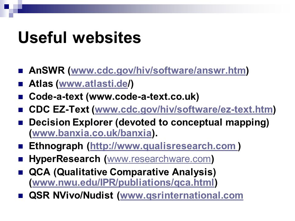 Useful websites AnSWR (www.cdc.gov/hiv/software/answr.htm)