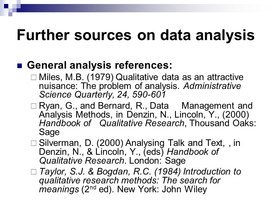 Further sources on data analysis