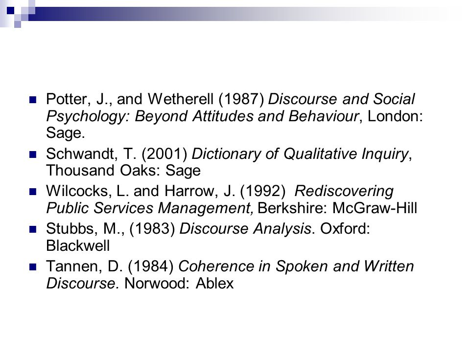 Potter, J., and Wetherell (1987) Discourse and Social Psychology: Beyond Attitudes and Behaviour, London: Sage.