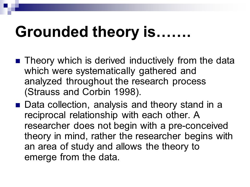 Grounded theory is…….