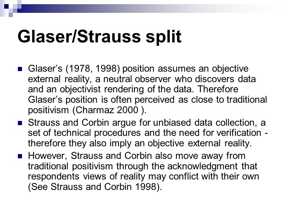 Glaser/Strauss split