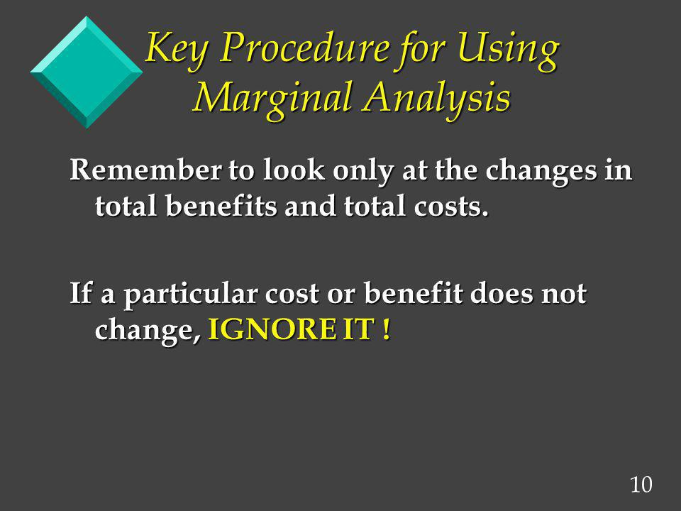 Key Procedure for Using Marginal Analysis