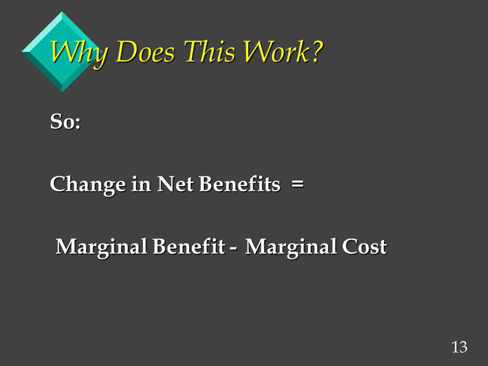 Why Does This Work So: Change in Net Benefits =