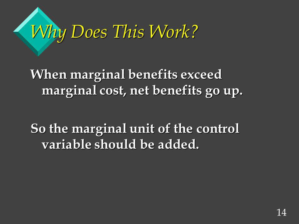 Why Does This Work. When marginal benefits exceed marginal cost, net benefits go up.
